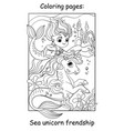 coloring book page mermaid and unicorn swim under vector image