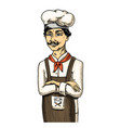 culinary boss or chef baker in apron engraved vector image vector image