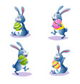 cute cartoon rabbit set with chocolate easter eggs vector image