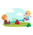 cute kids having fun on seesaw at playground vector image