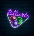glowing neon signboard of bar with billiards on vector image vector image