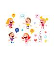 group of kids singing vector image