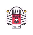 handmade logo template since 1935 retro vector image vector image