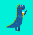 happy cartoon dino with ice-cream vector image vector image