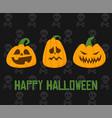 happy halloween banner spooky pumpkins vector image vector image