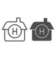 hotel line and glyph icon house vector image