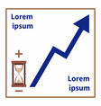 hourglass plus and minus rising trend line vector image vector image