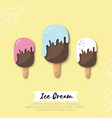 ice-cream in paper cut style origami melting ice vector image