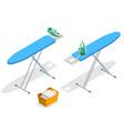 isometric iron ironing board and laundry basketf vector image vector image