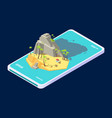 isometric mobile concept summer beach island vector image