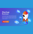 Isometric web banner launches a space rocket