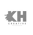 kh k h zebra letter logo design with black and vector image