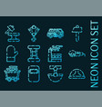 metallurgy set icons blue glowing neon style vector image vector image