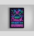 night beach party poster summer party neon style vector image vector image