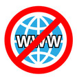 no internet sign on white background vector image vector image