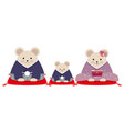 personified rat family dressed in japanese kimono vector image vector image