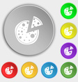 Pizza Icon Symbols on eight flat buttons vector image