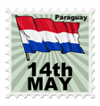 post stamp of national day of Paraguay vector image vector image