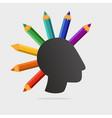 punk head with color pencils art school vector image vector image