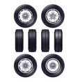 realistic car wheels set vector image