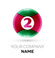 realistic number two symbol in colorful circle vector image vector image