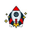 red retro rocket fly in space vector image