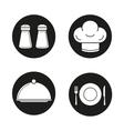 Restaurant kitchen equipment black icons set vector image vector image