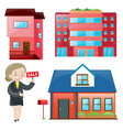 sale agent and different types of accomodations vector image
