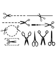 scissors set with dotted line isolated vector image vector image