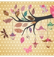Scrap-booking background of tree branch with vector image vector image