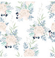 seamless pattern with white roses flowers vector image vector image
