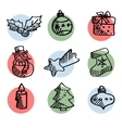 Set of cute hand drawn christmas icons isolated vector image vector image