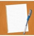 Sheet with lines and a pen vector image vector image