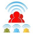 silhouette of people with wireless information vector image vector image