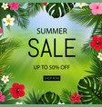 summer sale poster bokeh and tropical leaves and vector image vector image
