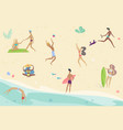 summertime cartoon people vector image vector image