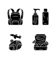 travel accessories glyph icons set backpack vector image