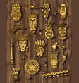 tribal mask set on wooden background vector image vector image