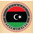 Vintage label cards of Libya flag vector image