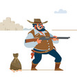 wild west cowboy gunfight cartoon vector image vector image