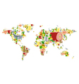 World map with food and drinks vector image vector image