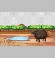 yak in nature landscape transparant scene vector image vector image