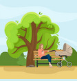 young mother with a baby carriage vector image