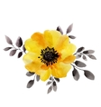 Watercolor of yellow flower isolated