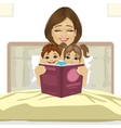 young mother reading tale story to her children vector image