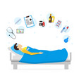cartoon sick man in bed and element set vector image