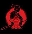 2 samurai composition cartoon vector image