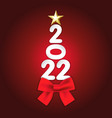 2022 happy new year tree with paper number vector image