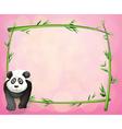 A panda beside a bamboo frame vector image vector image