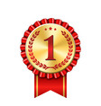 award ribbon gold icon number first design winner vector image